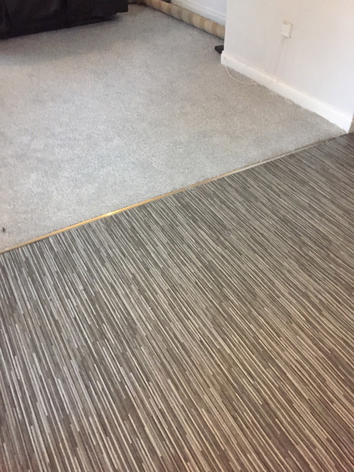 living room split by half silver carpet and half grey patterned vinyl flooring