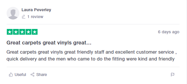 Screenshot of Trustpilot review from customer that loves their new vinyl in their home.